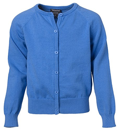 Sportoli Girls Button Down Long Sleeve 100% Cotton Knit Classic Uniform Cardigan Sweater Top with Ribbed Hem for Junior Women, Girls, Baby and Toddlers - Bright Blue (Size 14/16)