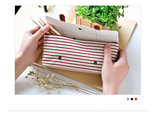 bigforest Vintage Navy Streifen Leinwand Pouch Federmappe Stift Bag Kosmetik Make-up Tasche mit Reißverschluss für Mädchen Jungen shcool Einheitsgröße rot rot