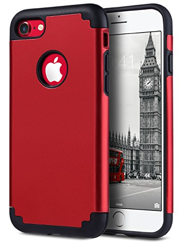 ULAK iPhone 7 Case Red, Slim Fit TPU Plastic & Hard PC Protection Hybrid Dual Layer Anti-Scratch Shock Absorbing Cover for Apple iPhone 7 4.7 inch, Red/Black