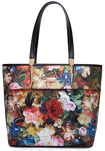 Women Tote Bags Handbags for Women with Removable Strap (black flower)