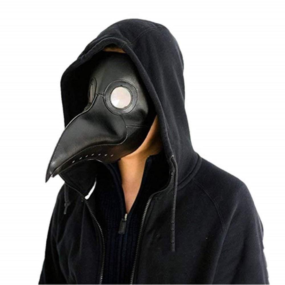 Zhenyu Halloween Plague Skull mask Gothic Role Playing Retro Doctor Bird mask (Black)