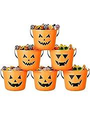 Cabilock 6 stuks Halloween pompoen emmer Halloween pompoen snoep bucket mini Halloween decoratie herfst snoep potten pompoen emmer voor het verzamelen van snoep voor Halloween