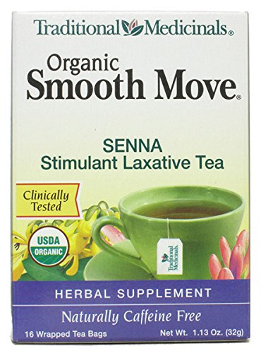 (Traditional Medicinals Organic Smooth Move Herbal Stimulant Laxative Tea, 16-Count Wrapped Tea Bags (Pack of 6))