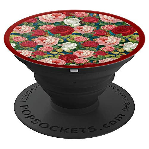 Rose Floral Vintage Wallpaper Pattern Light Pink Classic Red - PopSockets Grip and Stand for Phones and Tablets
