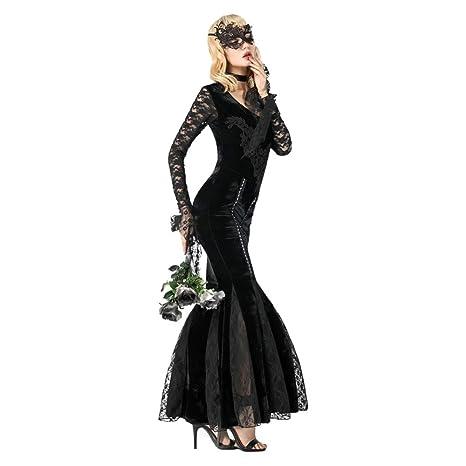 Disfraces De Halloween Vestido Largo De Encaje Negro Mujeres Adultas Carnaval Cosplay