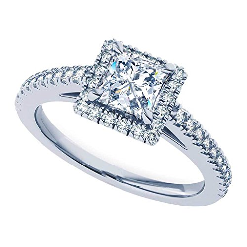 Designer Princess Cut Diamond Band (0.92 Ct Princess Cut Halo Diamond Engagement Rings For Her 14Kt Solid White Gold (Color-HI/Clarity-I1))