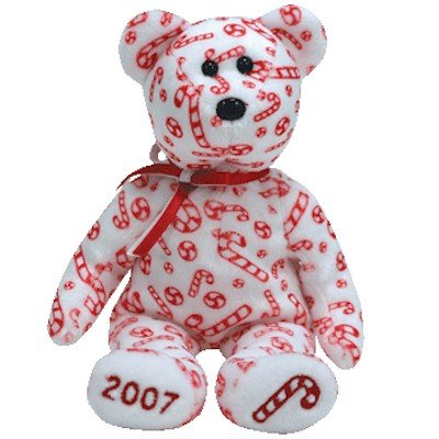 Ty Beanie Babies Candy Canes - Bear White (Hallmark Exclusive) (Cane Candy Bears)