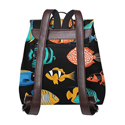 Kvinnor PU-läder tropiskt fiskmönster ryggsäck handväska resa skola axelväska ledig dagväska