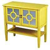 Heather Ann Creations 2-Door Console Cabinet with 4-Pane Circle Mirror Insert, Yellow