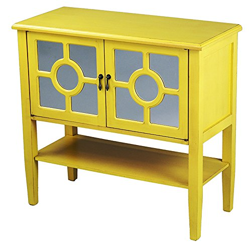Heather Ann Creations 2-Door Console Cabinet with 4-Pane Circle Mirror Insert, Yellow by Heather Ann Creations