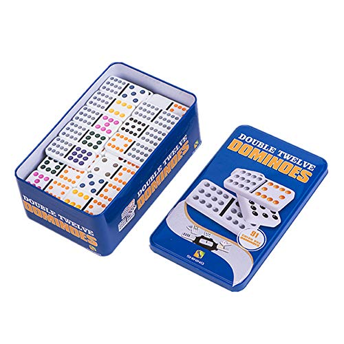 YH Poker Double 12 Color Dot Dominoes with tin Box
