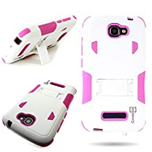 One Touch Fierce 2 (7040T) / Pop Icon (A564C) Case, CoverON® for Alcatel One Touch Fierce 2 (7040T) / Pop Icon (A564C) Hybrid Case [DuraShield Series] Heavy Duty Shockproof Protective Phone Cover with Kickstand - Hot pink/ white