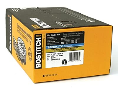 BOSTITCH C8P90BDG Thickcoat Round Head 2-1/2-Inch by .090-Inch by 15 Degree Wire Collated Coil Siding Nail (3,600 per Box)