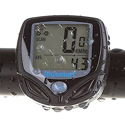 Blusmart® Wireless Waterproof LCD Bike Computer Odometer Speedometer with Multi Function and LCD Backlight