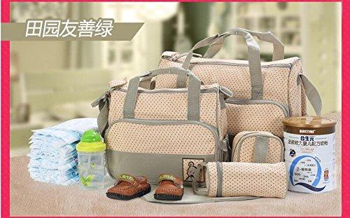 grandey 5en 1multifunción de gran capacidad cambiador de pañales para bebé Pad Viaje momia bolsa bolsa de saco de bolso gran capacidad multifunción portátil botella de Messenger embarazadas Madre de caqui