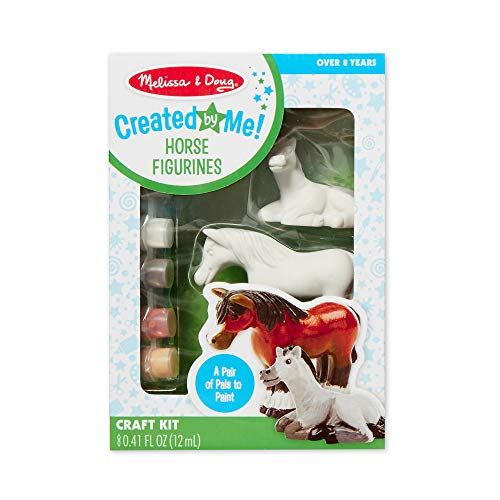 Melissa & Doug Decorate-Your-Own Horse Figurines Craft Kit (Includes 2 Resin Horses, 6 Pots of Paint, Paintbrush, Great Gift for Girls and Boys - Best for 8, 9, 10 Year Olds and Up)