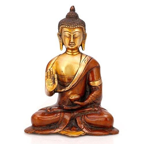 AapnoCraft Brass Amulet Buddha Idols Earth Touching Buddha Statue Thai Decor Happy Antique Yin Figure by AapnoCraft
