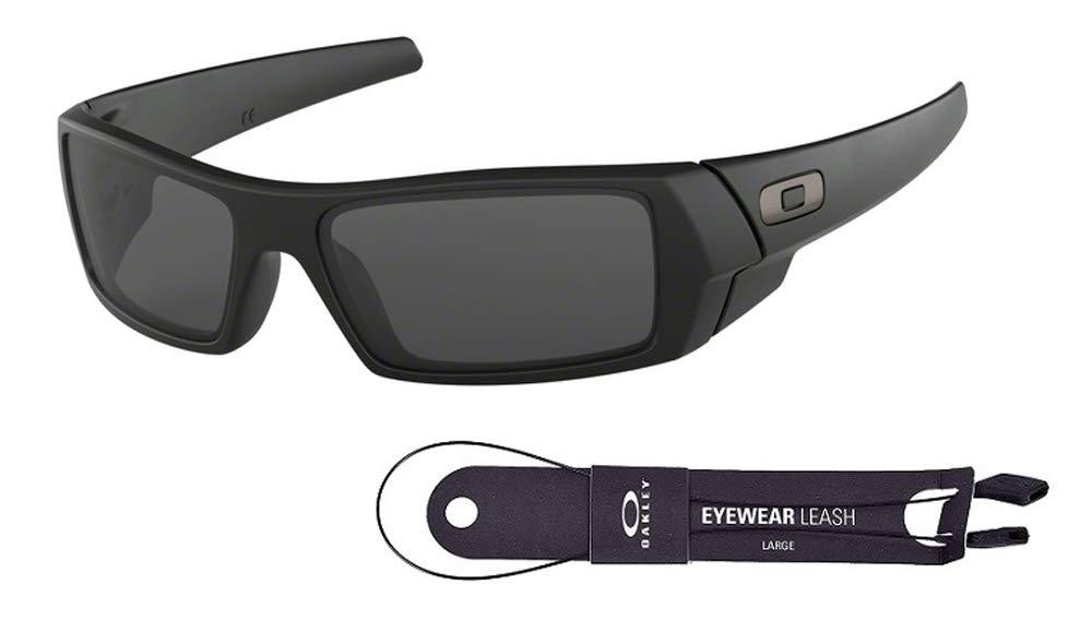 Oakley Gascan OO9014 03-473 61M Matte Black/Grey Sunglasses For Men +BUNDLE with Oakley Accessory Leash Kit