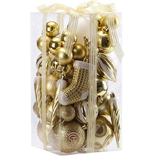 (Sea Team 50-Pack Assorted Shatterproof Christmas Ball Ornaments Set Decorative Baubles Pendants with Premium Gift Wrapping Ribbon for Xmas Tree (Gold))