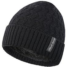 Novawo Knit Warm Fleece Lined Skull Cap Beanie Hat
