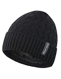 Novawo Knit Warm Fleece Lined Skull Cap Beanie Hat