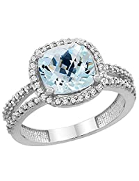 10K White Gold Natural Aquamarine Ring Cushion-cut 8x8 mm 2-row Diamond Accents, sizes 5 - 10