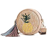 New Hand-Woven Rattan Round Handbag for Woman Cartoon Braided Leather Shoulder Strap Boho Bamboo Beach Bag Shoulder Bag Straw Handbag with Zipper buckl