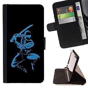 For Sony Xperia Z5 Compact Z5 Mini (Not for Normal Z5) Case , Azul Ninja- la tarjeta de Crédito Slots PU Funda de cuero Monedero caso cubierta de piel