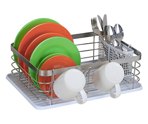 TQVAI Stainless Steel Dish Drying Rack Full Mesh Silverware