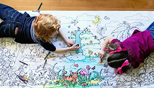 Smells Like Crayons Giant Wall Size, 5ft Coloring Page, Jungle Fun Color Me Cartoons for Kids and Adults, Family Gatherings, Quality time, Creative Learning 60