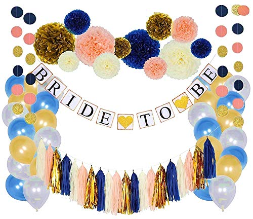 Bachelorette Party Decorations - Navy and Gold Bridal Shower- Navy Peach Ivory Gold Tissue Pom Poms Paper Flowers Tassels Garland Bride to Be Banner - Blue and Gold Balloons - All in One