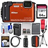 Nikon Coolpix W300 4K Wi-Fi Shock & Waterproof Digital Camera (Orange) with 64GB Card + Case + Battery & Charger + Tripod + Float Strap + Kit