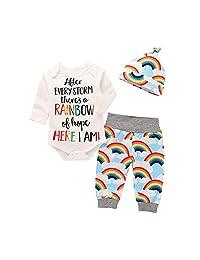 Vinjeely 3pcs Infant Baby Girls Boys Letter Print Romper +Rainbow Pants+Hat Outfits