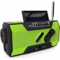 Emergency Radio With Solar And Hand Crank Charging, AM/FM NOAA Weather Channels, 1W Flashlight, Reading Lamp, 2000mAh Power Bank, Smartphone Charging, Earthquake prep