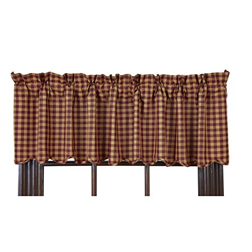 Ninepatch Star Valance Burgundy Check Scalloped Lined 16x60