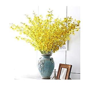 10Pcs/Lot Yellow Dancing-Lady Orchids Flower Bouquet Wedding Flower Artificial Flower Floral Event Party 57