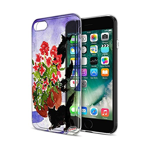Geraniums Art - iPhone 7 Protective Clear Hard Cover Case - Black and Tuxedo Maine Coon Kitties with Geraniums Cat Art by Denise Every