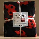 Ladybugs No-Sew Throw Fleece Fabric Kit