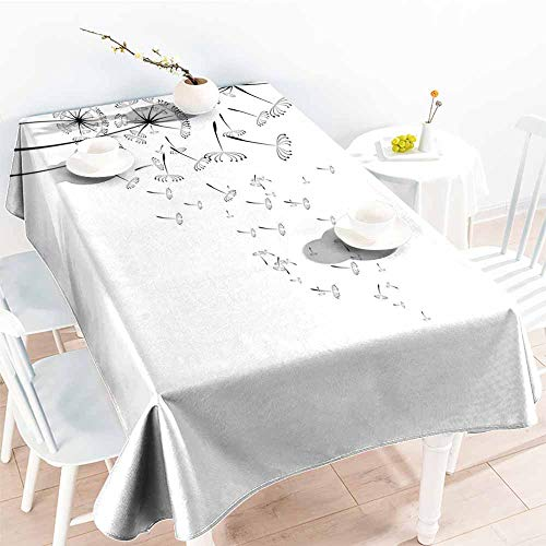 Onefzc Waterproof Table Cover,Dandelion Monochrome Dandelions with Seeds Blowing in The Wind Fluffy Flower Romance Theme,Dinner Picnic Table Cloth Home Decoration,W52x70L Black White]()