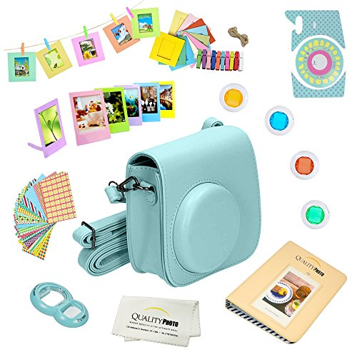 Quality Photo Instant Camera 12-Piece Accessories Kit Bundle -Ice Blue- Compatible For Fujifilm Instax Mini 8 & Mini 9 Camera Includes; Case W/Strap, Lens Filters, Photo Album & Frames + More