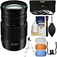 Panasonic Lumix G Vario 100-300mm f/4.0-5.6 II Power OIS Zoom Lens with 3 UV/CPL/ND8 Filters + Tripod + Flash Diffusers + Kit