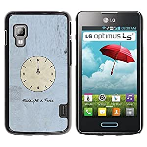 TopCaseStore / la caja del caucho duro de la cubierta de protección de la piel - Time Clock Paris Eiffel Art Midnight - LG Optimus L5 II Dual E455 E460