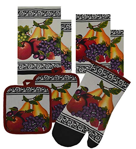 BH 7 Pieces 100% Cotton Kitchen Linen Set. (Oven Mitt, Kitchen Towels, Dish Cloths and Pot Holders) (Mixed Fruits)