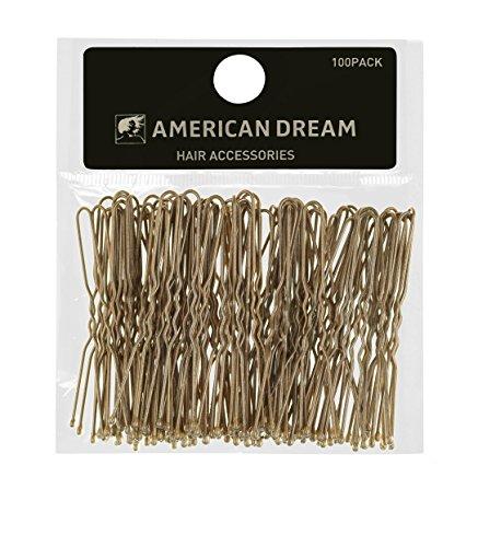 AMERICAN DREAM Pack of 100 x Haarklammern - blond - gewellt - 2.5 inch / 6.35 cm Länge, 1er Pack (1 x 100 Stück)