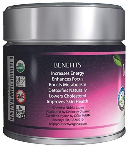 Distinctly Organic Matcha Green Tea - [USDA] Ceremonial Grade Powder - Natural Health Benefits - Free Recipe eBook - 30g [1.06oz]