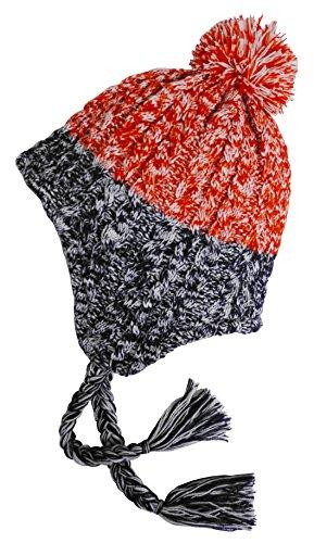 (Broner Ladies Cable Knit 2-Tone Marled Peruvian Hat, Patriotic Colors)