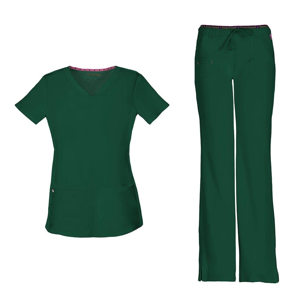 HeartSoul Women's Pitter-Pat Shaped V-Neck Scrub Top 20710 & Heartbreaker Heart Soul Drawstring Scrub Pants 20110 Medical Scrub Set (Hunter - Medium/Medium Tall)