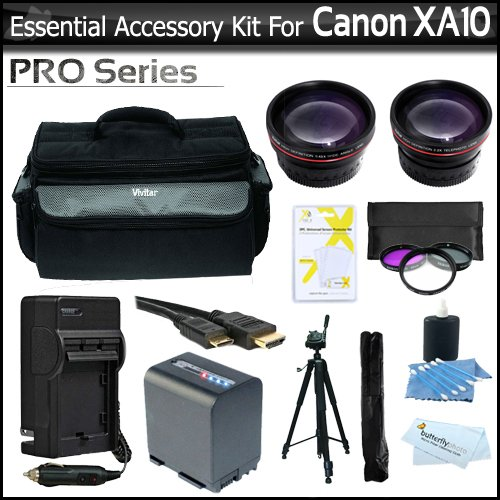 Essential Accessory Kit For Canon XA10 Professional Camcorder Includes Extended (2100Mah) Replacement BP-819 Battery + AC/DC Travel Charger + Deluxe Case + 72'' Pro Tripod + HD .43x Wide Angle Lens + HD 2.2x Telephoto Lens + 3pc Filter Kit + Much More by ButterflyPhoto