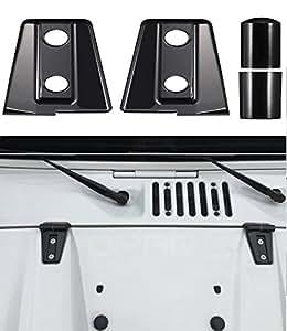 u-Box Black Hood Hinge Cover Trim for 2007-2018 Jeep Wrangler - Pack of 2