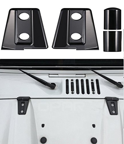 u-Box Black Hood Hinge Cover Trim for 2007-2018 Jeep Wrangler - Pack of (Hinges Jeep)